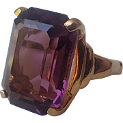 Vendome 1969 Purple Glass Cocktail Ring, Magazine Ad Piece