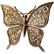 Trifari 1960's Butterfly Glass Cab Eyes Brooch