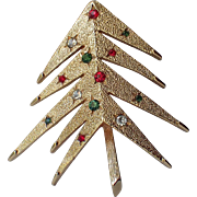 SCARCE Mylu 1968 Modernist Space Age Christmas Tree Pin, Book Piece