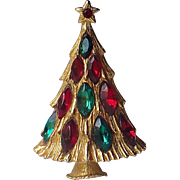 3D Christmas Tree Pin 1960's with Navette Rhinestones