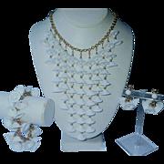 PRISTINE Napier 1972 White Temple Bell Cascade Parure: Necklace, Bracelet, Earrings
