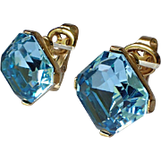 Trifari Mid Century Aquamarine Glass Diamond Shaped Earrings