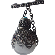 Victorian Perfume Bottle Pin Filigree Made in France