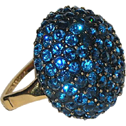 Vendome 1963-1965 Sapphire Rhinestone Dome Cocktail Ring, Magazine Ad Piece!