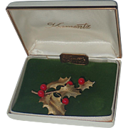 Krementz 14K Gold Overlay Holly Berries Christmas Brooch, Mint in Box