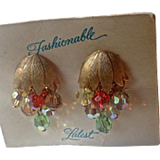 1960's Fashionable Latest Crystal Drop Earrings, Mint on Original Card