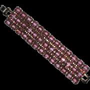 Weiss Wide Pink Glass & Pink AB Rhinestone Bracelet