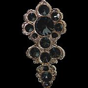 Corocraft Smoke Gray Swarovski Rivoli Crystal Pendant, Brooch