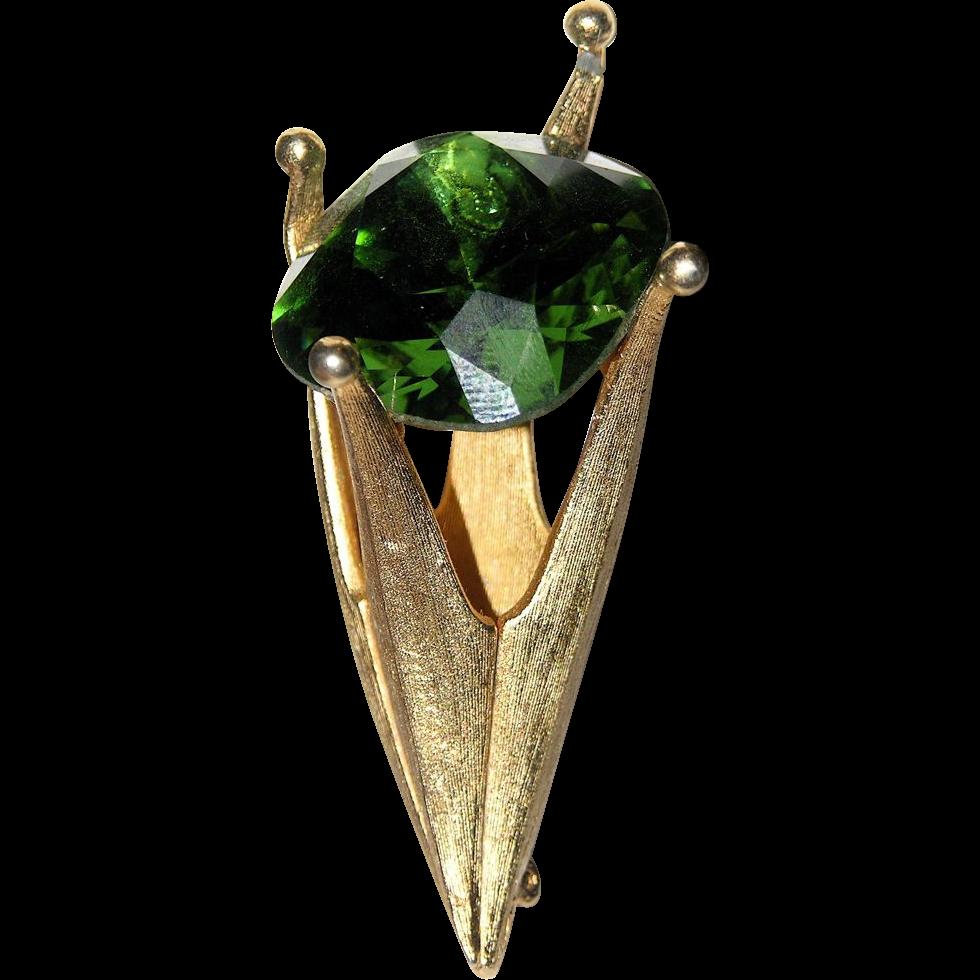 Corocraft 3D Green Stone Crown-Torch Brooch