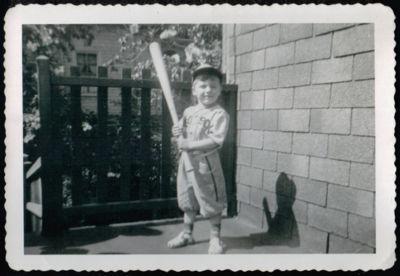 1949 Vintage B&W Photograph ~ Little Boy in Red Sox Baseball Uniform