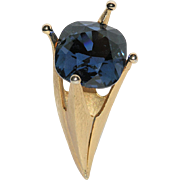 Corocraft 3D Sapphire Blue Glass Stone Crown Torch Brooch