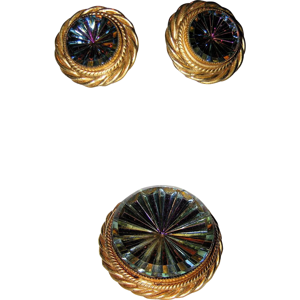 RARE 1960's Hattie Carnegie Pinwheel Pin, Pendant and Earring Set, Original Box