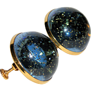 Vendome Mid Century Grey-Blue & Gold Glitter Lucite 3D Dome Earrings