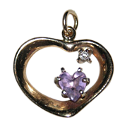 Vintage 14K Gold Heart ~ Amethyst & Diamond Pendant