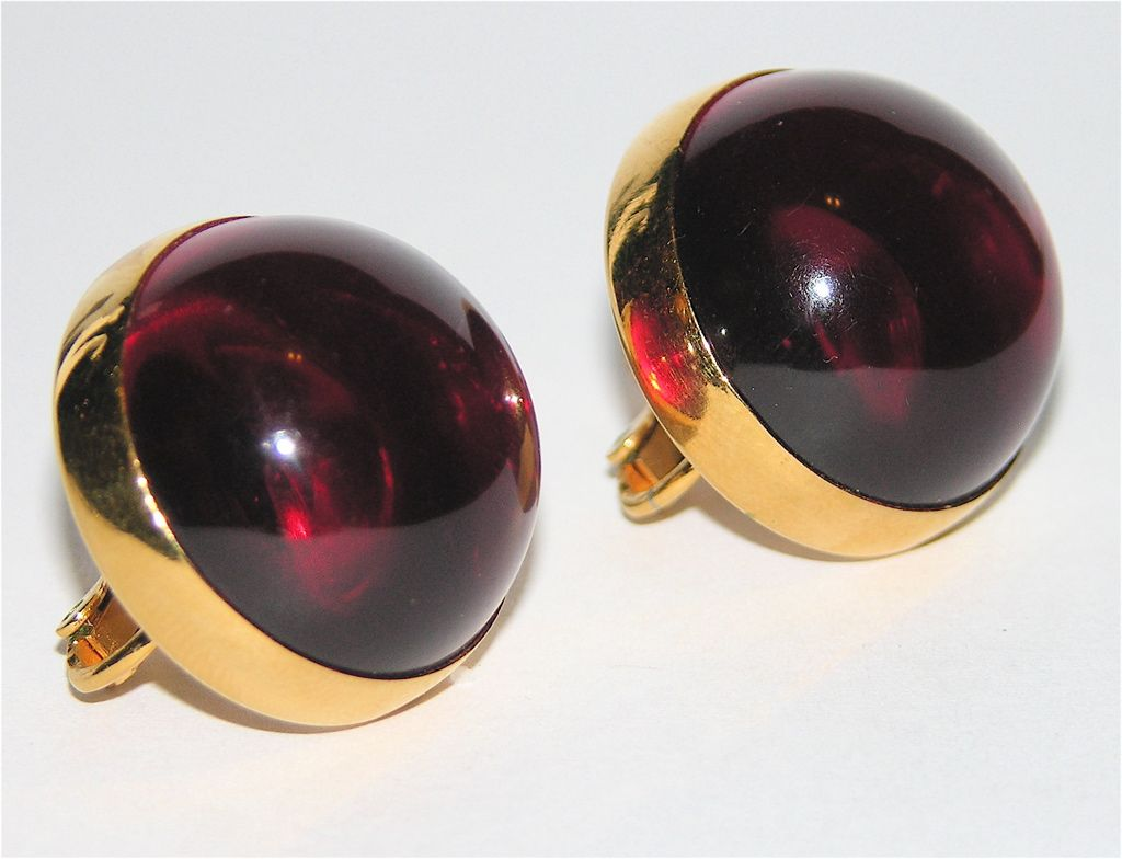 Vendome 1960's Red Lucite Dome Earrings