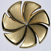 Trifari 1960's Golden Pinwheel Brooch