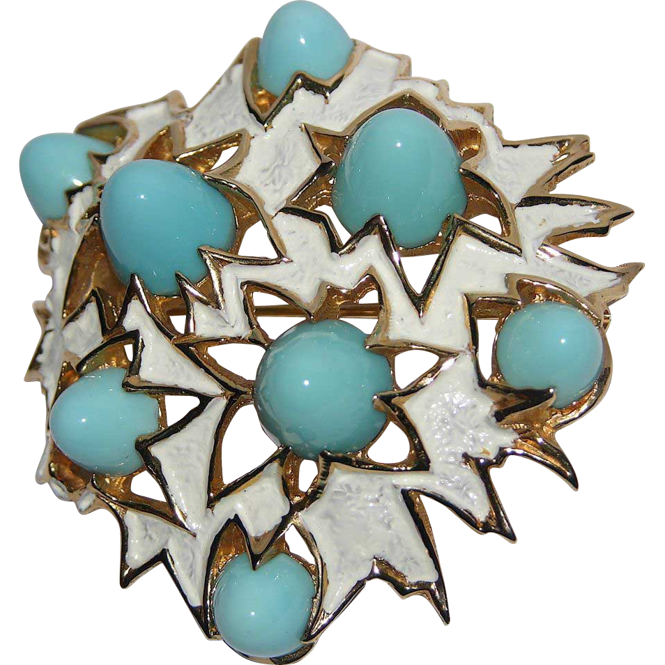 Boucher 1960's Turquoise Glass Bullet Modernist Brooch