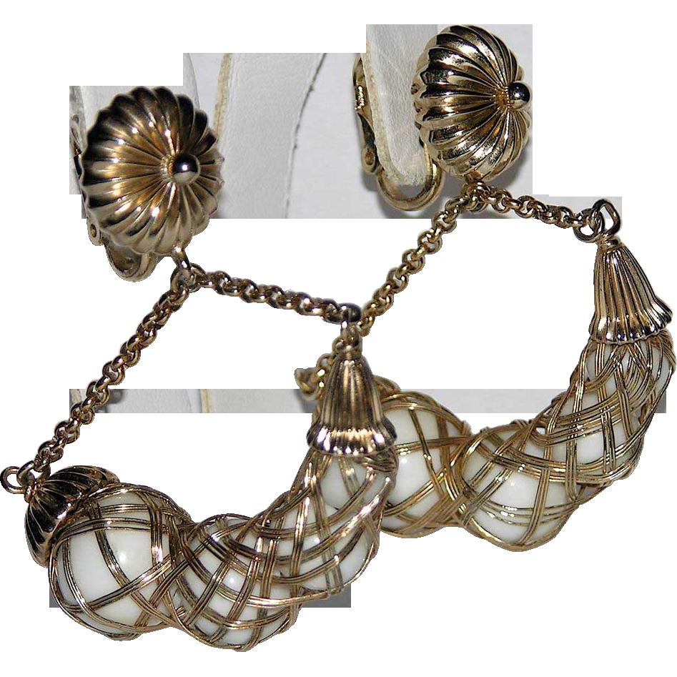 RARE Napier 1968 Crescent Glass Bead Hoop Earrings