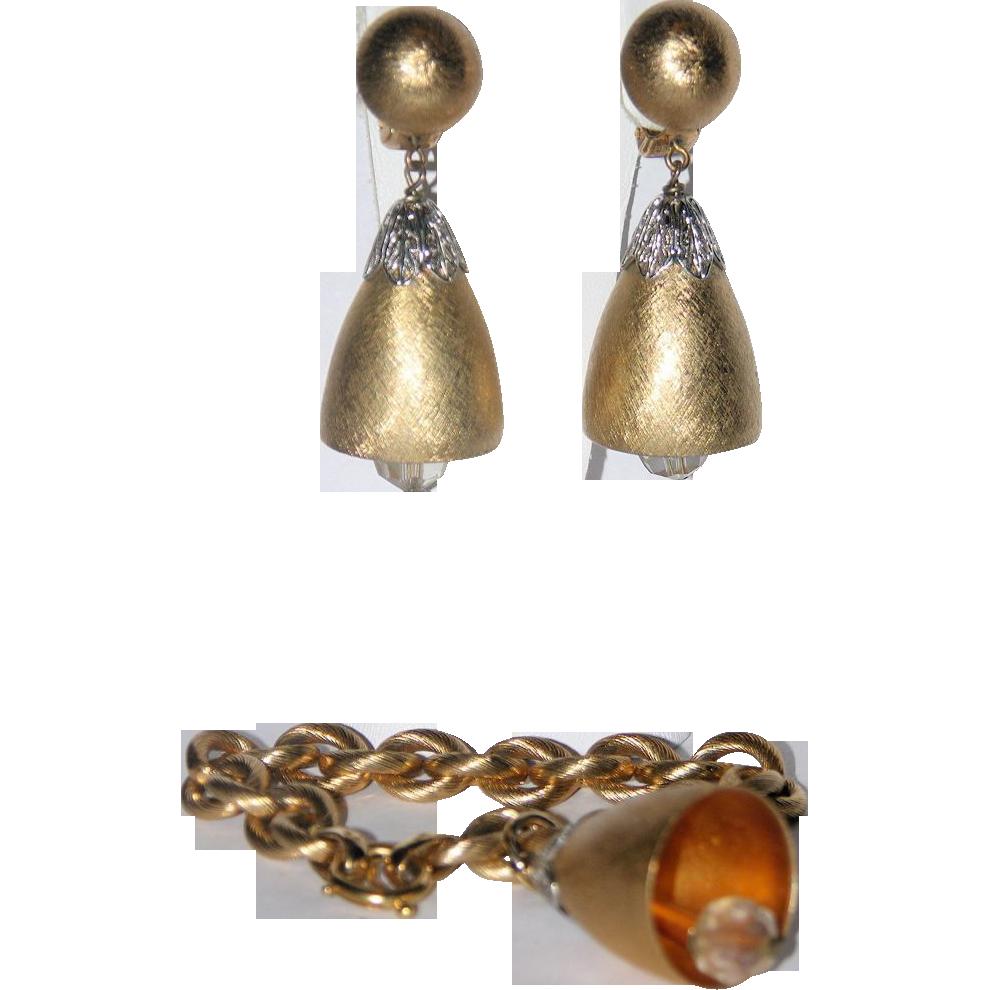 Napier 1970 Wedding Bell Charm Bracelet & Earring Set ~ Book Piece