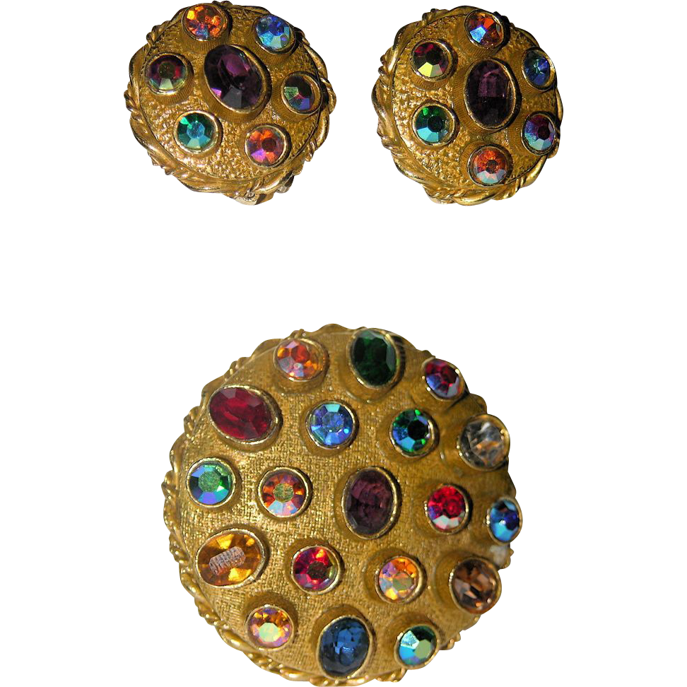 ART Signed 1960's Jeweled Brooch/Pendant & Earring Set