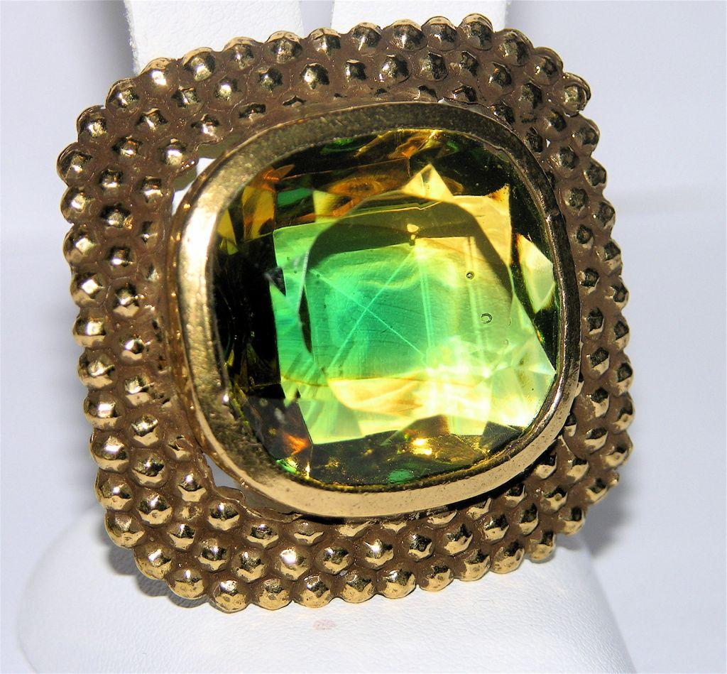 Accessocraft N.Y.C. Peridot-Topaz Glass Brooch