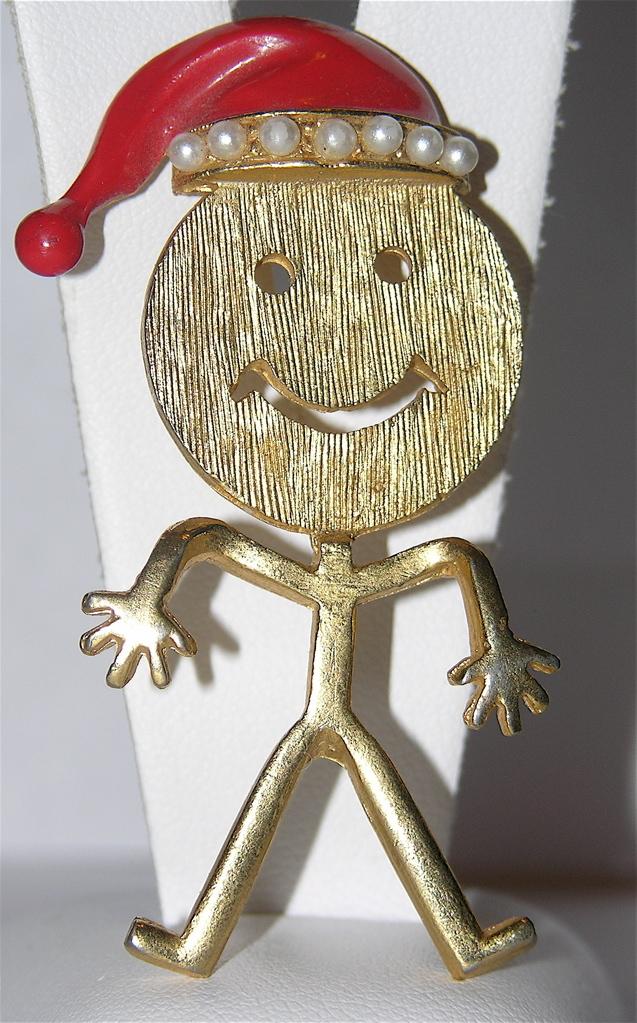 1970's Smiley Face Santa Stick Figure Christmas Pin