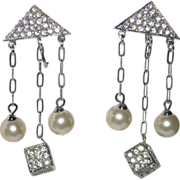 RARE Vendome 1960's Mod Rhinestone Cube, Faux Pearl Drop Earrings