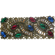 Art Nouveau Jeweled Paste Floral Brass Bar Brooch
