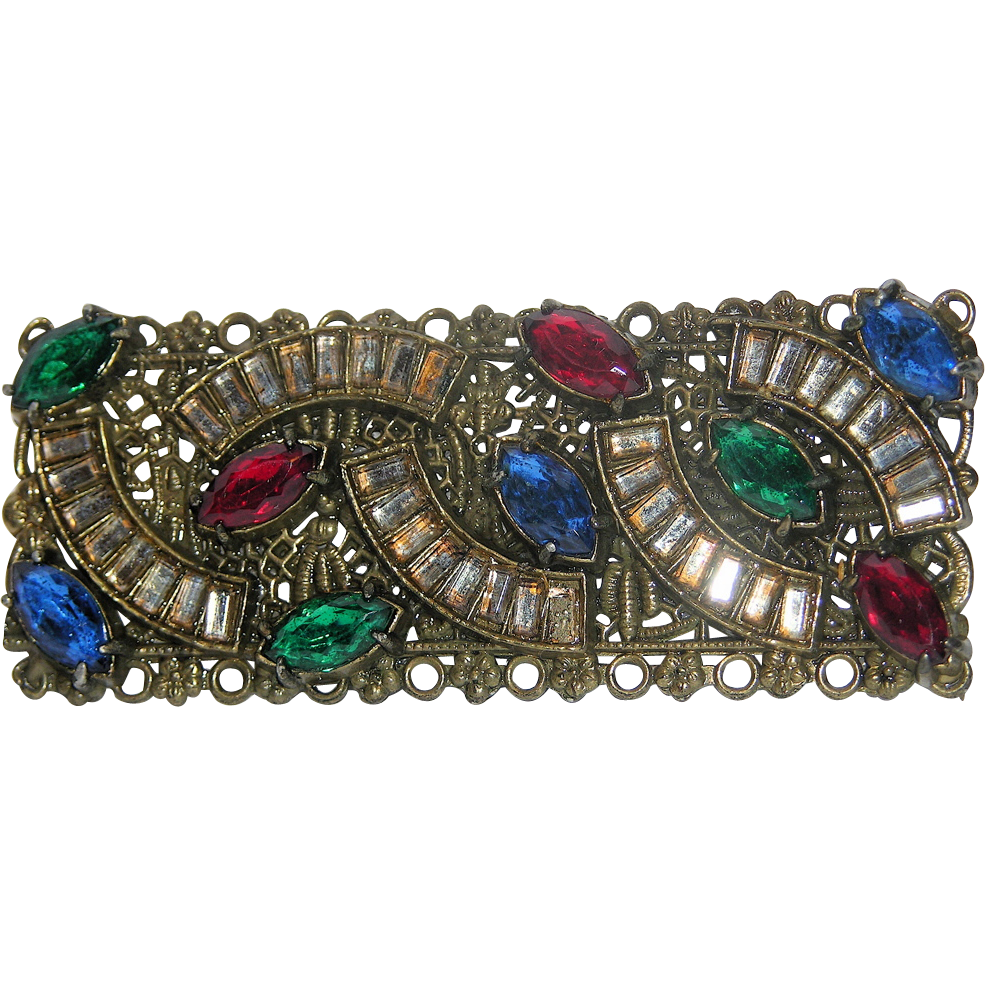 Art Nouveau Jeweled Paste Floral Brass Bar Brooch