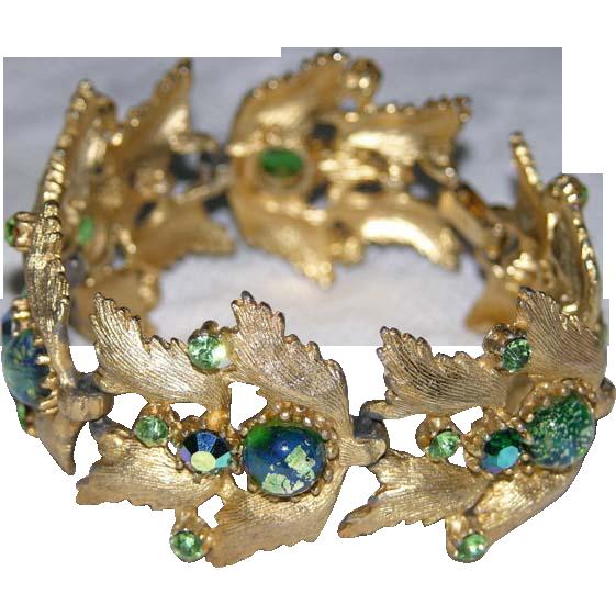 RARE Judy Lee 1958 Green Foiled Art Glass Bracelet, Book Piece