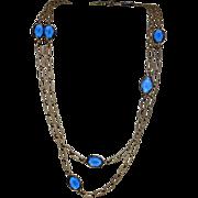 "Corocraft Blue Glass Bezel Set Sautoir Necklace ~ 52"""