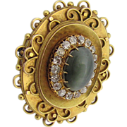 Antique Victorian 1840's 14K Gold, Green Chrysoberyl Cat's Eye & Old Mine Diamonds Mourning Brooch