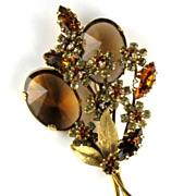 Vendome 1950's Glass & Rhinestone Floral Spray Brooch