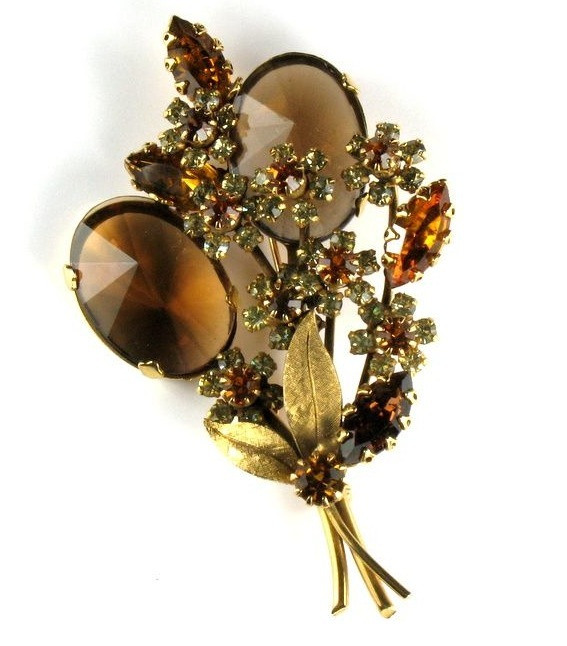 Vendome 1950's Glass & Rhinestone Floral Spray Brooch