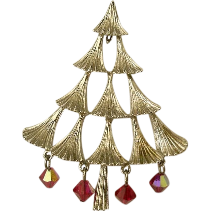 Mylu 1960's Crystal Drop Tiered Christmas Tree Pin, Book Piece