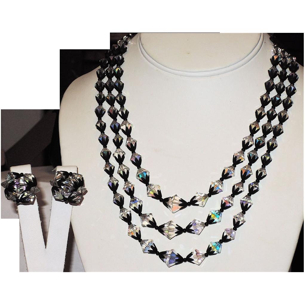 1950's 3-Strand Crystal Aurora Borealis & Japanned Necklace & Earring Set