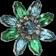 Daisy Flower Aqua Blue, Green Glass Rhinestones Brooch