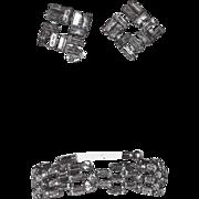 Austria Signed Baguette Rhinestone Bracelet & Earring Set