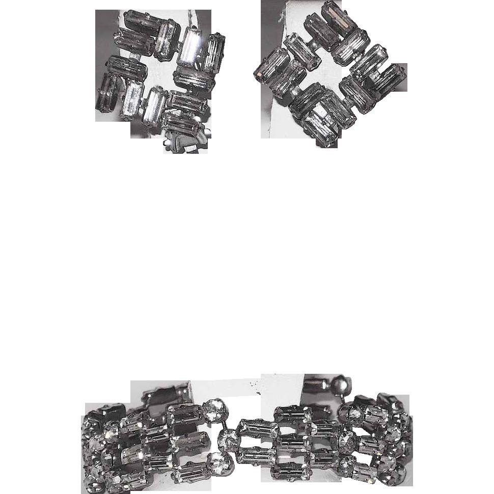 Austria Signed Baguette Rhinestone Bracelet and Earring Set