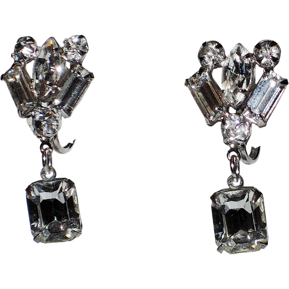 1950's Rhinestone Baguette Drop Earrings ~ Pristine!