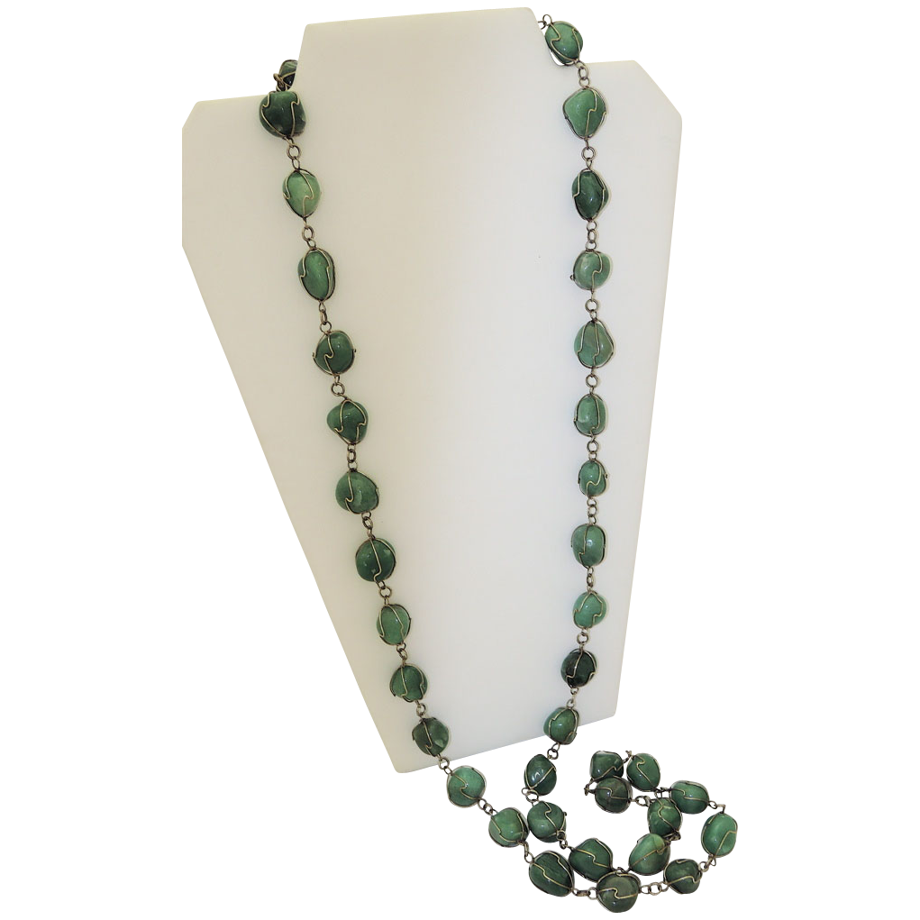 "Awesome Sterling Caged Tumbled Aventurine Gem 48"" Sautoir Necklace"