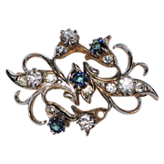 Early 1950's Victorian Revival Sapphire-Clear Rhinestone Pin