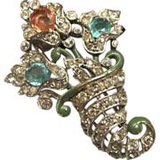 Trifari 1940 Alfred Philippe Cornucopia Fur Clip ~ Patented