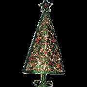 Green Enamel Gold Filigree 1960's Vintage Christmas Tree Pin