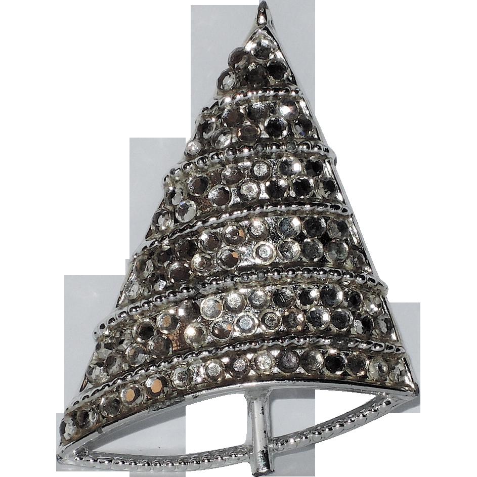 BJ - Beatrix Signed Silver Swarovski Crystal Christmas Tree Pin ~ Book Piece