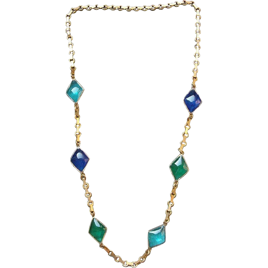 SCARCE 1920's Art Deco French Gripoix Gilt Sautoir Necklace