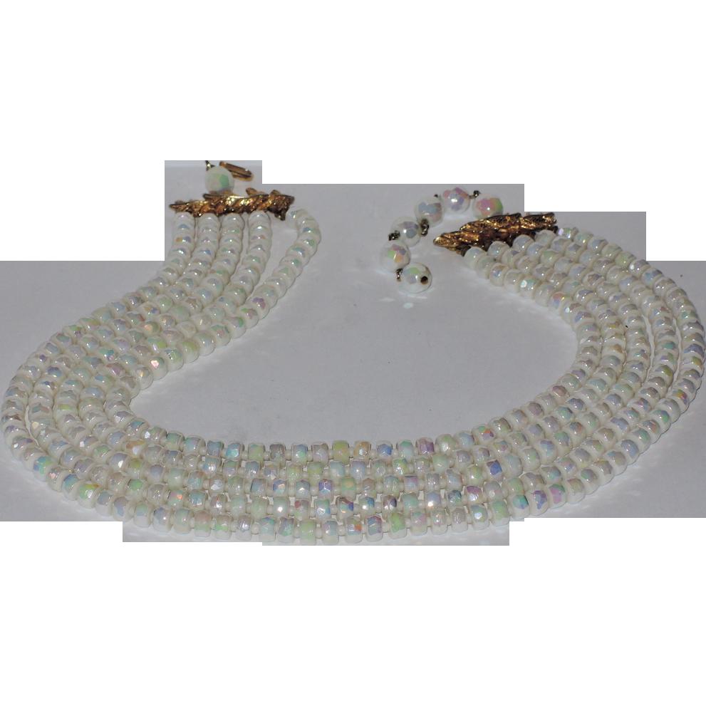RARE Castlecliff 1950's 5-Strand Opalescent Carnival Glass Necklace