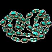"RARE Swarovski Emerald Green Rivoli Crystal Sautoir Necklace, 34"""