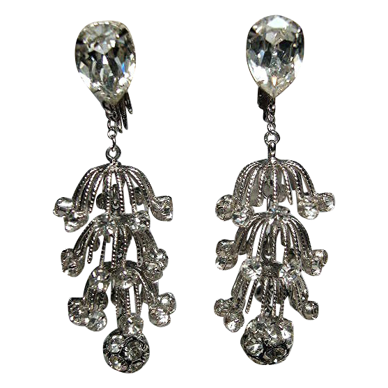 Napier 1960's Tiered Rhinestone 3D Chandelier Drop Earrings