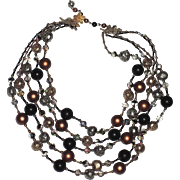 Vendome 1960 Burnt Gold 5-Strand Necklace, Magazine Ad Piece